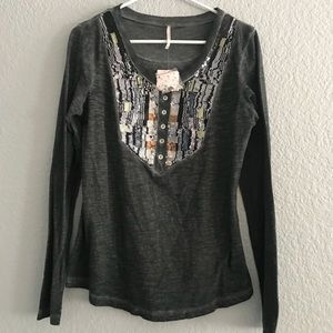 Free People black comb sequined top.
